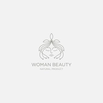 Szablon logo premium twarz kobiety natura