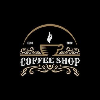 Szablon logo projektu kawiarni w stylu vintage