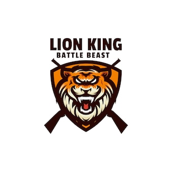 Szablon logo prostego stylu maskotki króla lwa