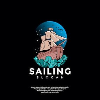 Szablon logo przygoda statek