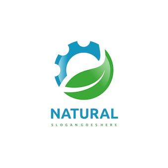 Szablon logo przyrody i narzędzi
