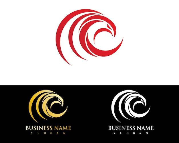 Szablon logo ptak falcon eagle