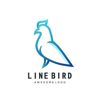 Szablon logo ptak gradient line art kolorowe logo