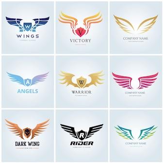 Szablon logo ptak orzeł i skrzydło.