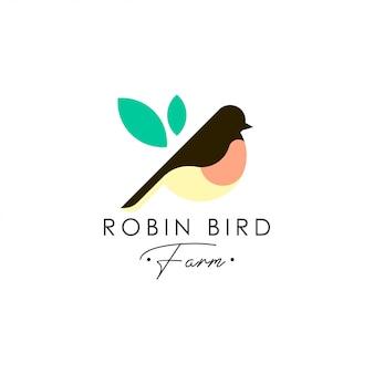 Szablon logo ptak robin. wektor logo zwierząt. szablon logo ptak pieścić