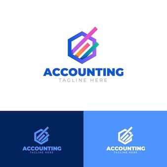 Szablon logo rachunkowości biznesowej gradientu