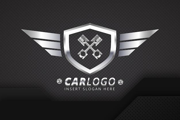 Szablon logo realistyczne metaliczny samochód
