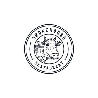 Szablon logo restauracji grilla. wektor logo wędzarni