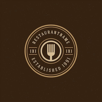 Szablon logo restauracji, sylwetka widelca do menu restauracji i odznaka kawiarni