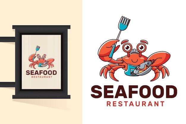Szablon logo restauracji z owocami morza z kraba