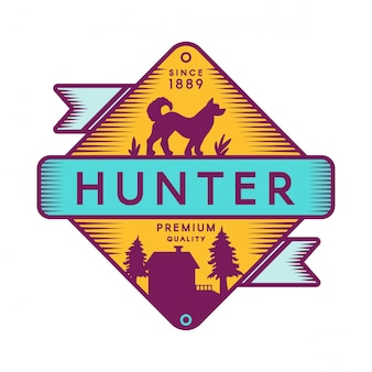 Szablon logo retro kolor obozu hunter