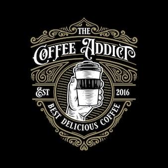 Szablon logo retro vintage uzależniony od kawy z eleganckim ornamentem