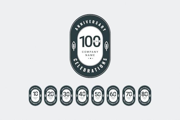 Szablon logo rocznicy. zaprojektuj swoją uroczystość. projekt reklamy, plakatu, banera lub wydruku.