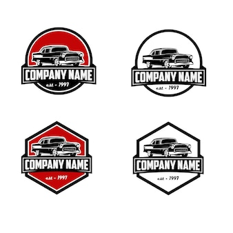 Szablon logo rocznika firmy klasyczny samochód