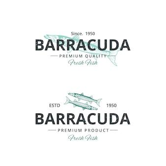 Szablon logo rocznika ryby barakudy dla restauracji