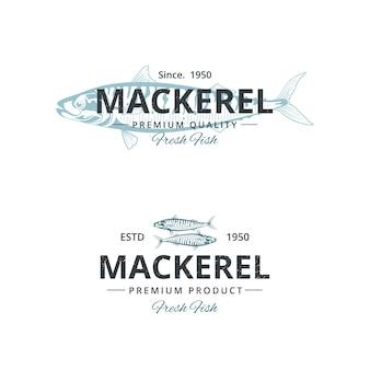 Szablon logo rocznika ryby makreli dla restauracji