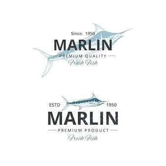 Szablon logo rocznika ryby marlin dla restauracji