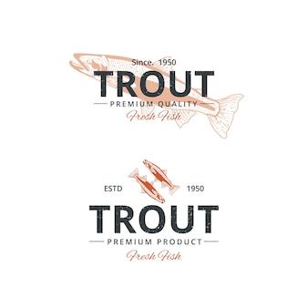 Szablon logo rocznika ryby pstrąga dla restauracji