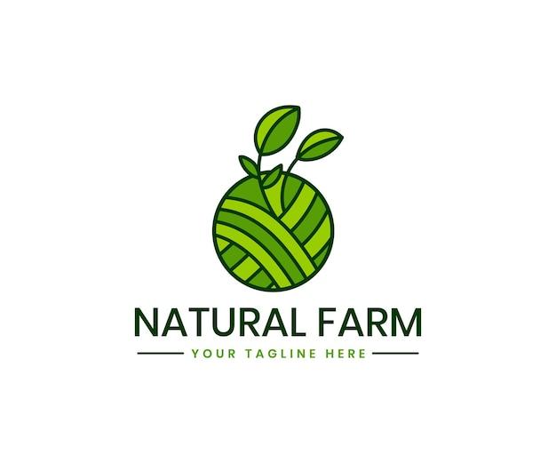 Szablon logo rolnictwa ekologicznego z ekologiczną marką produktów ekologicznych w rolnictwie