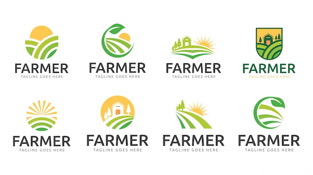 Szablon logo rolnik ogród natura