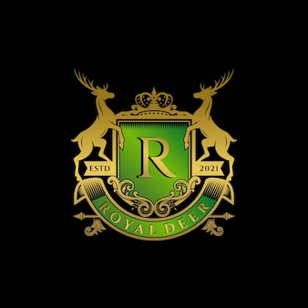 Szablon logo royal deer crest