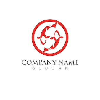 Szablon logo ryb koi. kreatywny symbol wektor