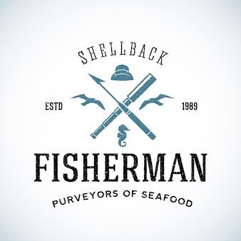 Szablon logo rybaka vintage shell back z shabby tekstur.