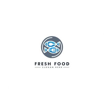 Szablon logo ryby, ikona owoce morza