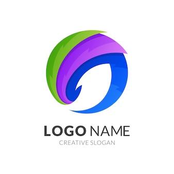Szablon logo ryby, nowoczesny styl logo w żywych kolorach gradientu
