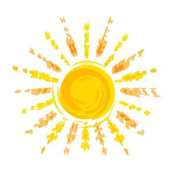Szablon logo rysunek ołówkiem słońca dla biura podróży koło słoneczne z promieniami na białym tle