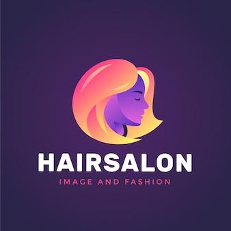 Szablon logo salonu fryzjerskiego w kolorze gradientu na ciemnym tle