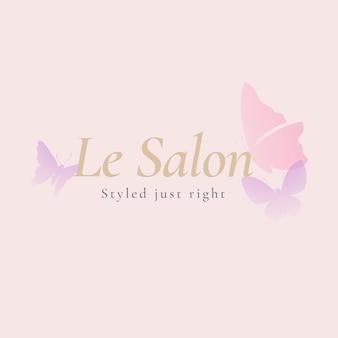 Szablon logo salonu piękności motyl, różowa kreatywna wektorowa ilustracja zwierząt