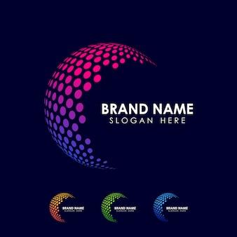 Szablon Logo Sfera Punkt. Ikona Wektor Glob Premium Wektorów