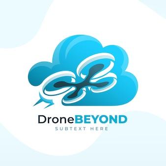 Szablon logo sieci web gradientu drone projektu