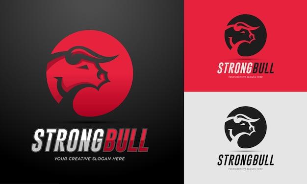 Szablon logo silnego byka w edytowalnym wektorze