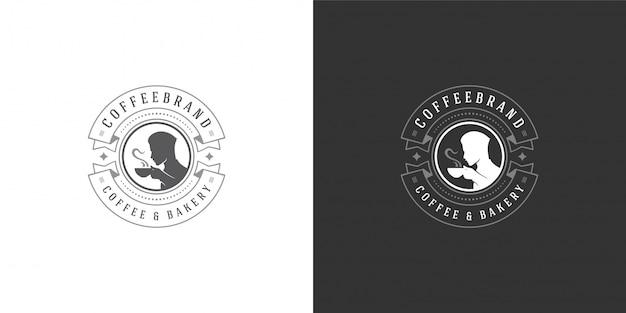 Szablon logo sklep z kawą lub herbatą z mężczyzną, trzymając kubek sylwetka dobry na odznakę kawiarni
