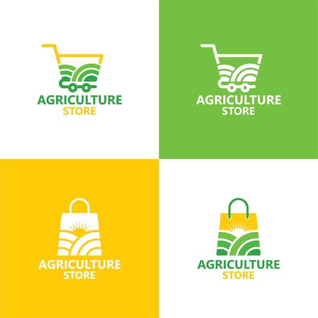 Szablon logo sklepu rolniczego wektor premium