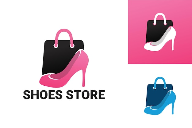 Szablon logo sklepu z butami damskimi wektor premium
