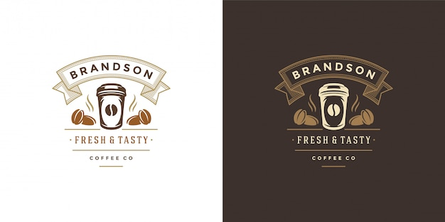 Szablon logo sklepu z kawą na wynos z sylwetką kubka