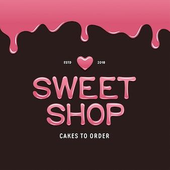Szablon logo słodkiego sklepu. tekst w stylu czekoladowym.