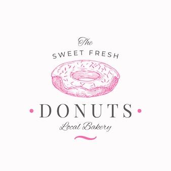 Szablon Logo Słodyczy Ręcznie Rysowane Słodki Pączek I Typografia Lokalna Piekarnia Premium Wektorów