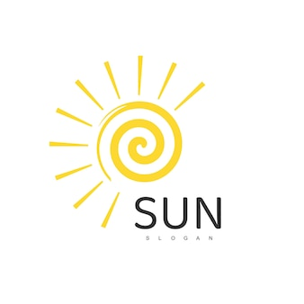 Szablon logo słońca, ilustracja projektu ikony
