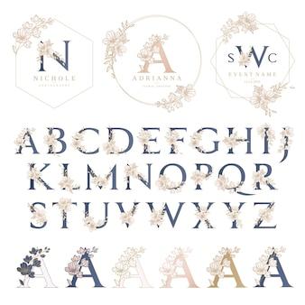 Szablon logo ślubu z wieniec kwiatowy