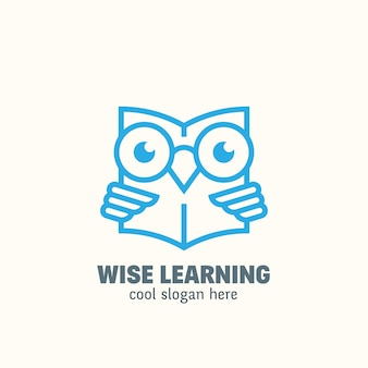 Szablon logo smart education styl linii. emblemat do nauki.