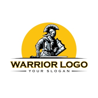 Szablon logo spartan knight warrior