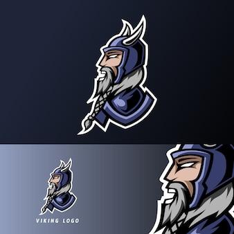 Szablon logo sportowego wściekłego sportu wściekłego viking ze zbroją, hełmem, grubą brodą i wąsami