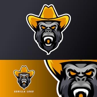 Szablon logo sportowej maskotki do gier gorilla hat sport esport, odpowiedni dla zespołu streamerów