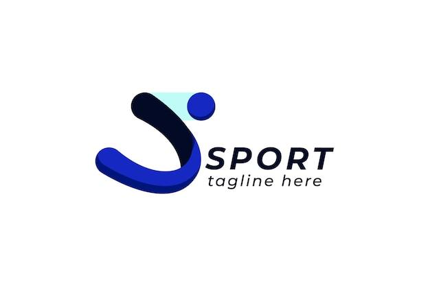 Szablon logo sportu z abstrakcyjnym symbolem