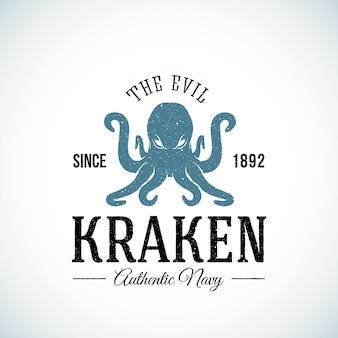 Szablon logo streszczenie autentyczne marynarki wojennej zła kraken. teksturowane.