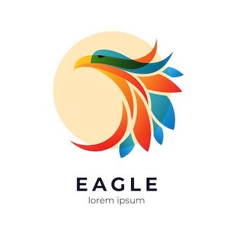 Szablon logo streszczenie kolorowe orzeł